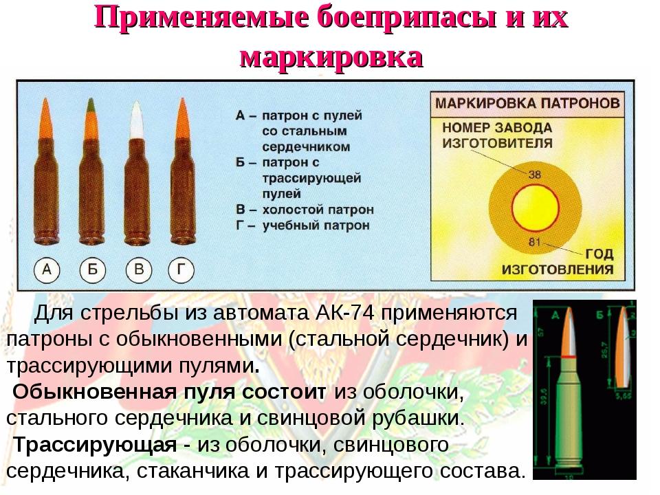 Применяемые боеприпасы и их маркировка Для стрельбы из автомата АК-74 применя...
