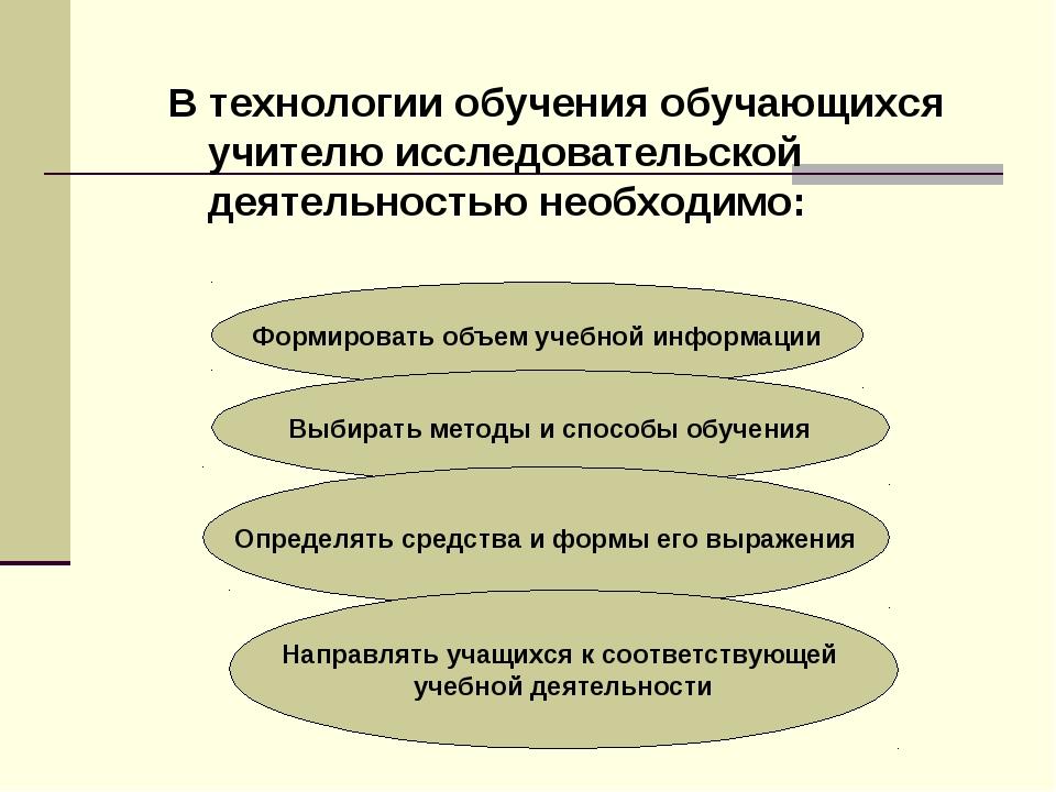 В технологии обучения обучающихся учителю исследовательской деятельностью нео...