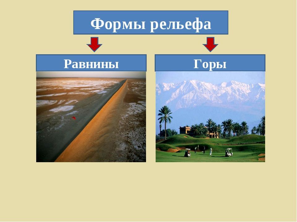 Формы рельефа Горы Равнины