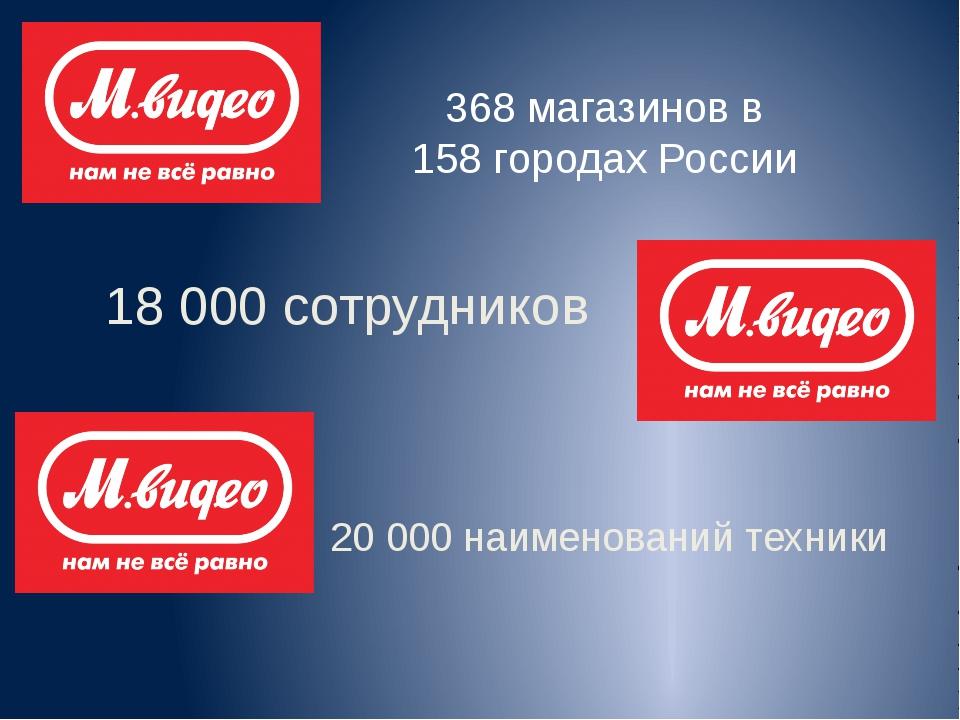 368 магазинов в 158 городах России 18 000 сотрудников 20 000 наименований тех...