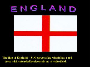 The flag of England – St.George's flag which has a red cross with extended h