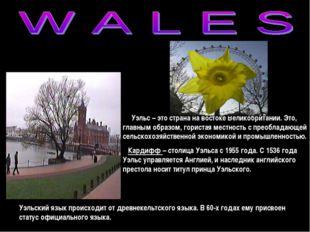Уэльс – это страна на востоке Великобритании. Это, главным образом, гористая