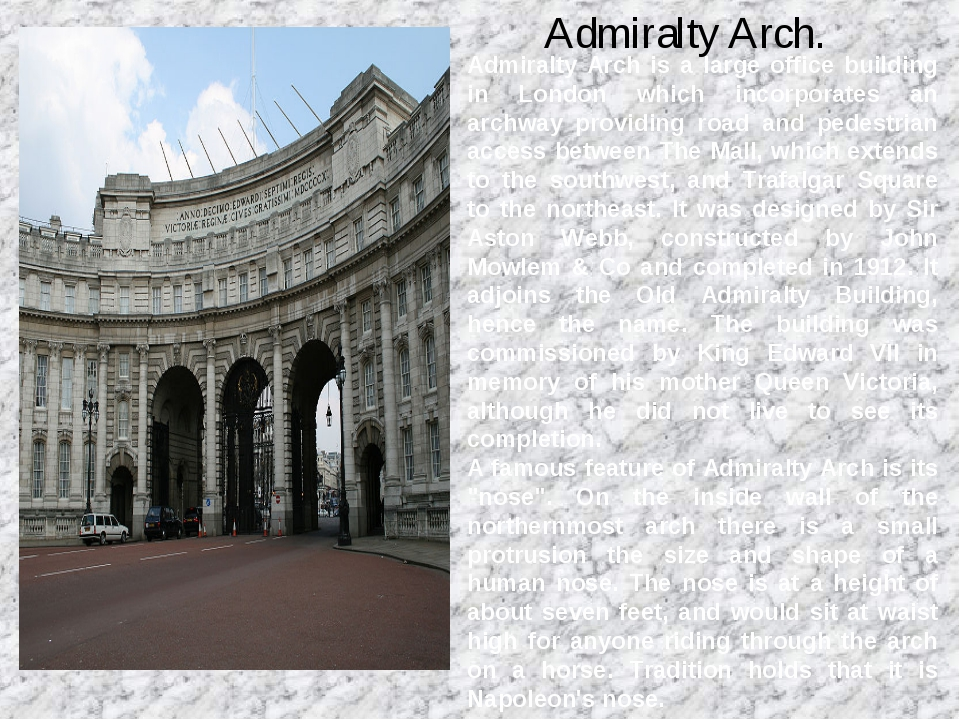 Admiralty Arch. Admiralty Arch is a large office building in London which in...