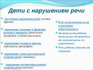 Дети с нарушением речи системные нарушения речи (алалия, афазия); нарушение с