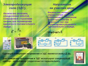 Электродвижущая сила (ЭДС). Напряжение на участке цепи. Физическая величина,