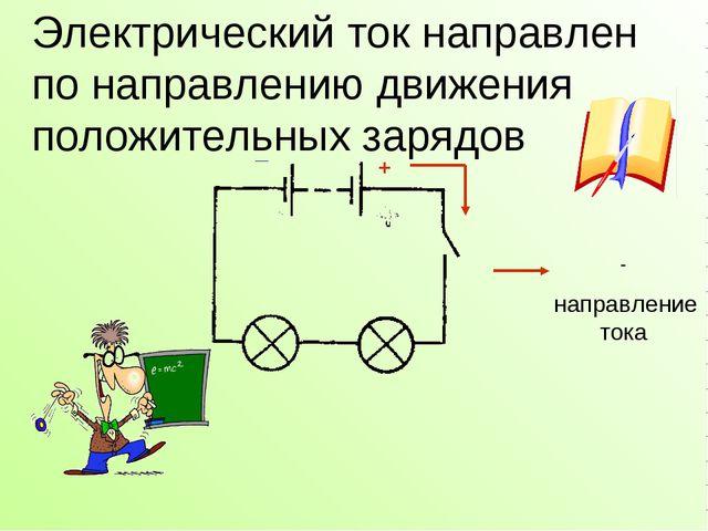 Электрический ток направлен по направлению движения положительных зарядов _ +...