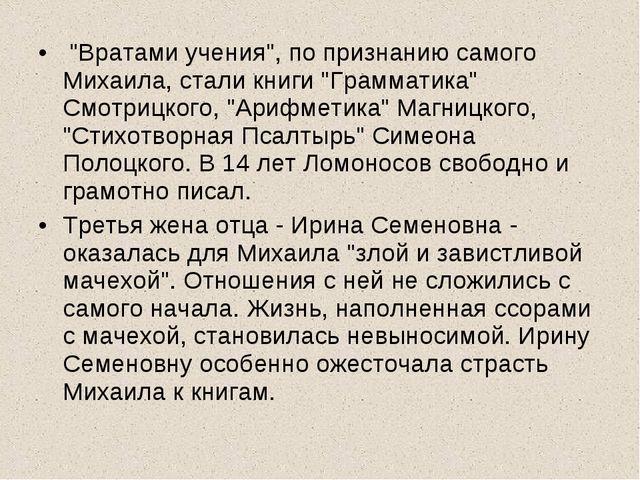 """""""Вратами учения"""", по признанию самого Михаила, стали книги """"Грамматика"""" Смот..."""
