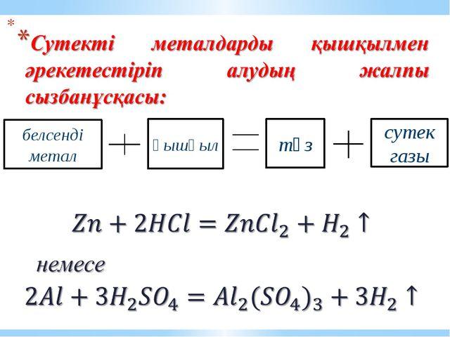 белсенді метал сутек газы тұз қышқыл