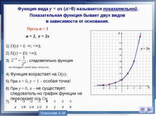 Функция вида у = аx (a>0) называется показательной. Показательная функция быв