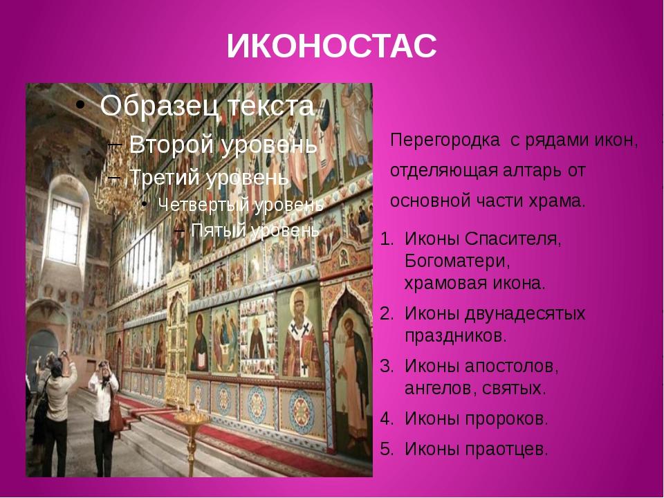ИКОНОСТАС Перегородка с рядами икон, отделяющая алтарь от основной части храм...