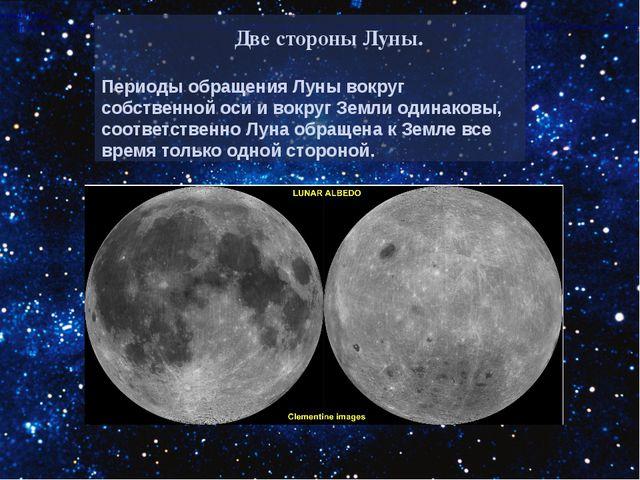 Две стороны Луны. Периоды обращения Луны вокруг собственной оси и вокруг Земл...