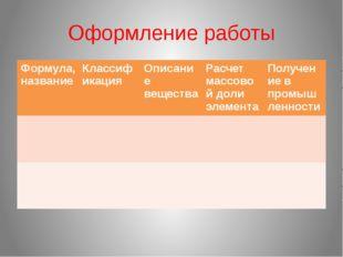 Оформление работы Формула,название Классификация Описание вещества Расчет мас