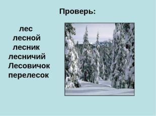 Проверь: лес лесной лесник лесничий Лесовичок перелесок
