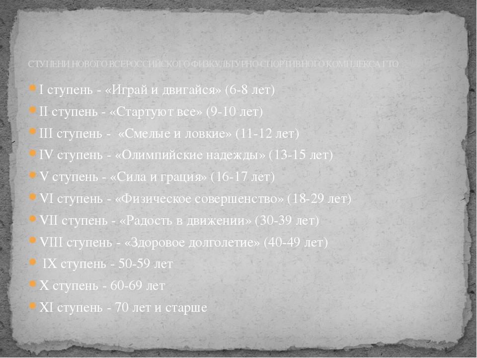 СТУПЕНИ НОВОГО ВСЕРОССИЙСКОГО ФИЗКУЛЬТУРНО-СПОРТИВНОГО КОМПЛЕКСА ГТО I ступен...