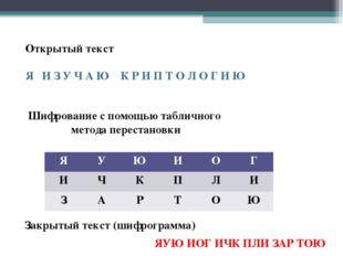 Открытый текст Я И З У Ч А Ю К Р И П Т О Л О Г И Ю Шифрование с помощью табли