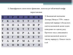 1) Зашифровать свои имя и фамилию, используя табличный шифр перестановки 2) З
