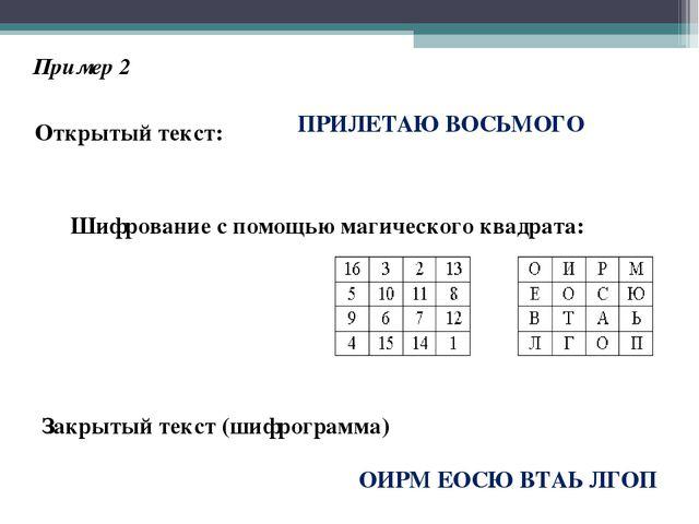 Пример 2 Открытый текст: ПРИЛЕТАЮ ВОСЬМОГО Шифрование с помощью магического к...
