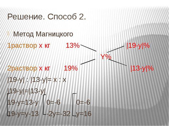 Решение. Способ 2. Метод Магницкого 1раствор х кг 13% |19-y|% Y% 2раствор х к...