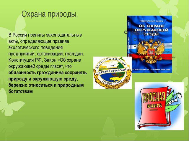 Охрана природы. В России приняты законодательные акты, определяющие правила э...