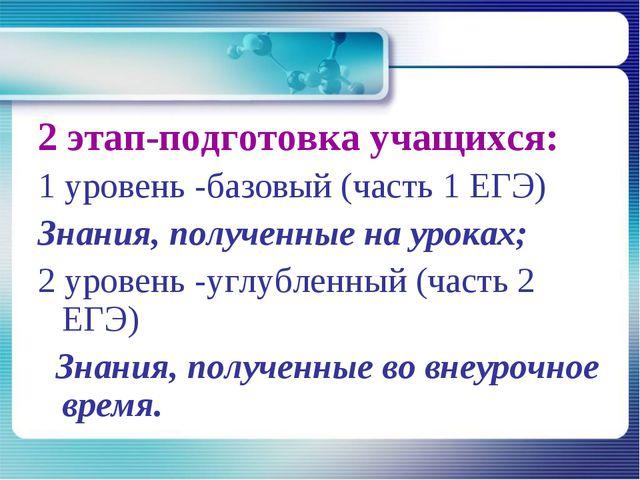 2 этап-подготовка учащихся: 1 уровень -базовый (часть 1 ЕГЭ) Знания, полученн...