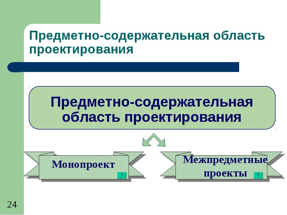 Предметно-содержательная область проектирования Монопроект Межпредметные прое...