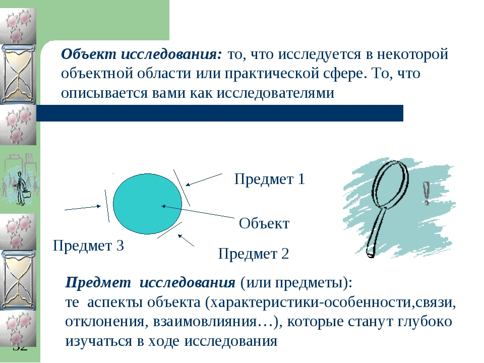 Объект исследования: то, что исследуется в некоторой объектной области или пр...