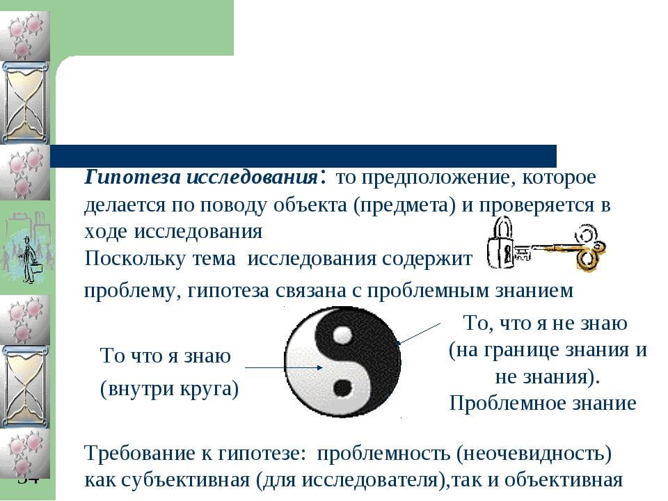 Гипотеза исследования: то предположение, которое делается по поводу объекта (...
