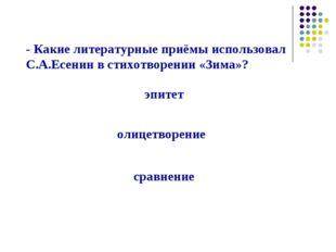 - Какие литературные приёмы использовал С.А.Есенин в стихотворении «Зима»? эп
