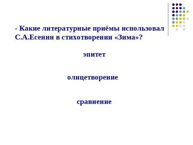 - Какие литературные приёмы использовал С.А.Есенин в стихотворении «Зима»? эп...