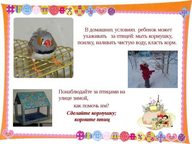 В домашних условиях ребенок может ухаживать за птицей: мыть кормушку, поилку...
