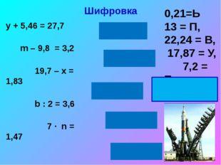 Шифровка у + 5,46 = 27,7 m – 9,8 = 3,2 19,7 – х = 1,83 b : 2 = 3,6 7 ∙ n = 1,