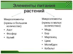 Элементы питания растений Макроэлементы (нужны в большом количестве) Азот Фо