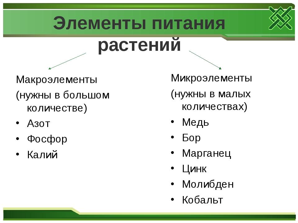 Элементы питания растений Макроэлементы (нужны в большом количестве) Азот Фо...