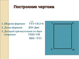 Построение чертежа 1. Ширина фартука ТТ1=Сб:2+6 2. Длина фартука ТН=Днч 3. Д