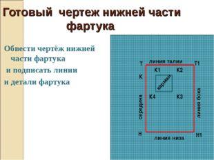 Готовый чертеж нижней части фартука Обвести чертёж нижней части фартука и по