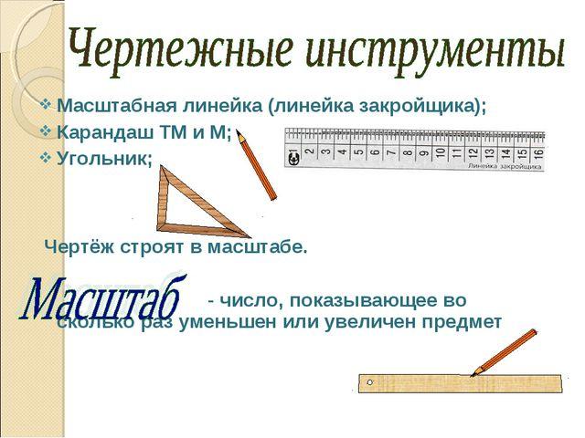 Масштабная линейка (линейка закройщика); Карандаш ТМ и М; Угольник; Чертёж ст...