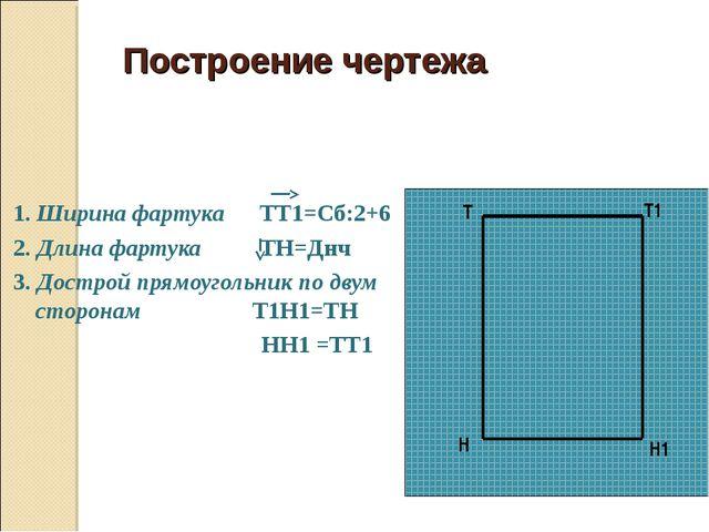 Построение чертежа 1. Ширина фартука ТТ1=Сб:2+6 2. Длина фартука ТН=Днч 3. Д...