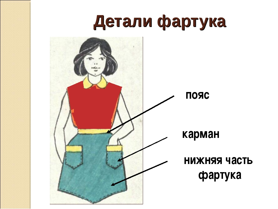 Детали фартука пояс нижняя часть фартука карман