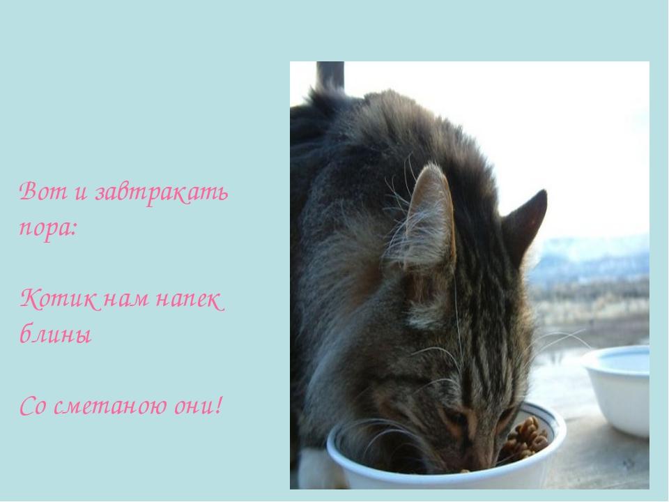 Вот и завтракать пора: Котик нам напек блины Со сметаною они!