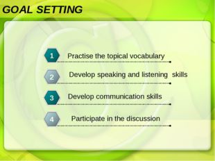 GOAL SETTING Practise the topical vocabulary 1 Develop speaking and listening