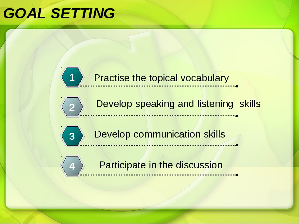 GOAL SETTING Practise the topical vocabulary 1 Develop speaking and listening...