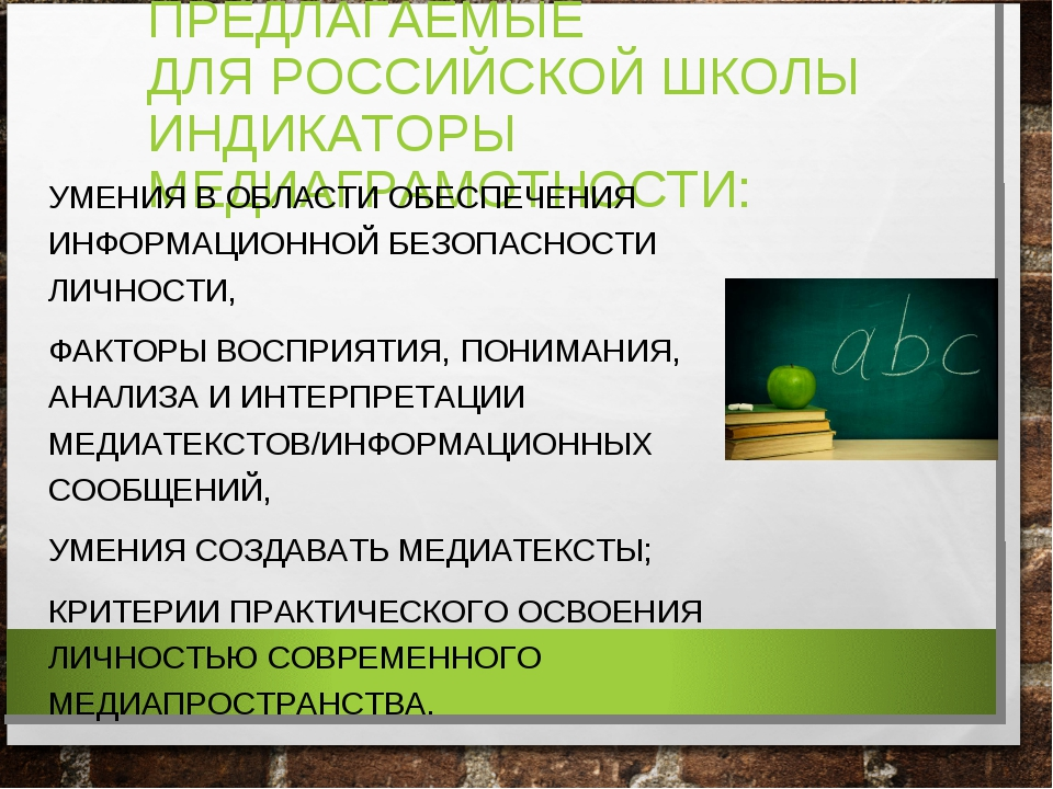ПРЕДЛАГАЕМЫЕ ДЛЯ РОССИЙСКОЙ ШКОЛЫ ИНДИКАТОРЫ МЕДИАГРАМОТНОСТИ: УМЕНИЯ В ОБЛАС...
