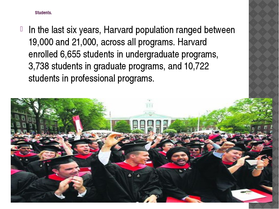 Students. In the last six years, Harvard population ranged between 19,000 an...