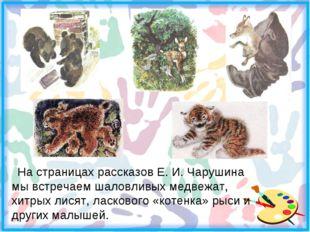 На страницах рассказов Е. И. Чарушина мы встречаем шаловливых медвежат, хитр