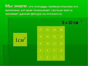 Мы знаем, что площадь прямоугольника это величина, которая показывает сколько