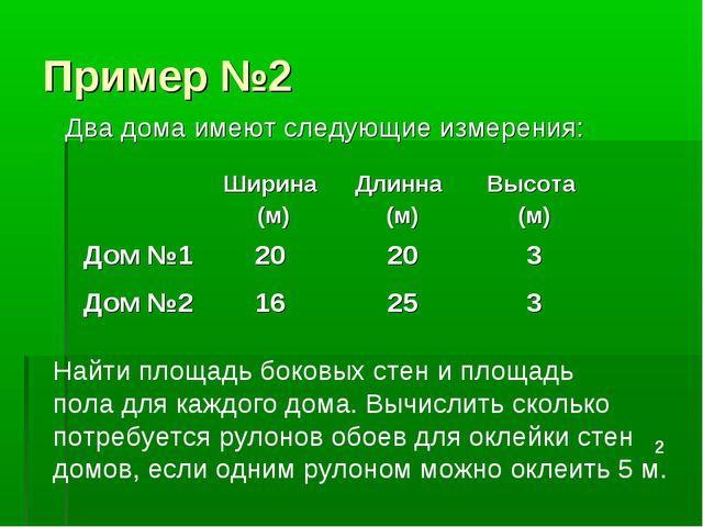 Пример №2 Два дома имеют следующие измерения: Найти площадь боковых стен и пл...