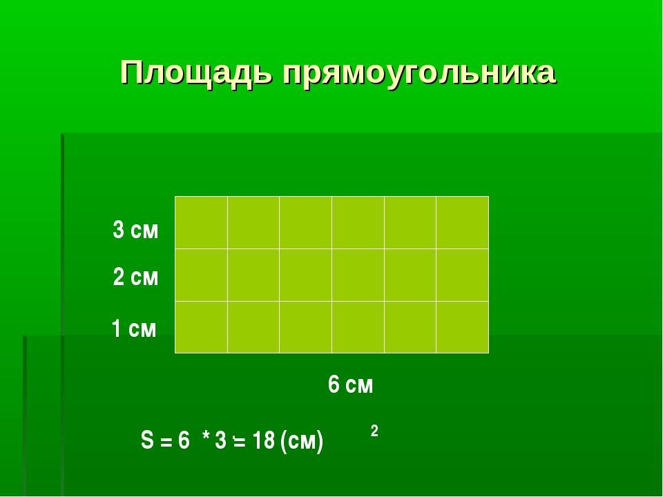 Площадь прямоугольника 6 см 1 см 2 см 3 см