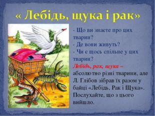 - Що ви знаєте про цих тварин? - Де вони живуть? - Чи є щось спільне у цих тв