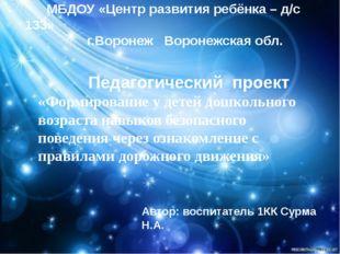 МБДОУ «Центр развития ребёнка – д/с 133» г.Воронеж Воронежская обл. Педагоги