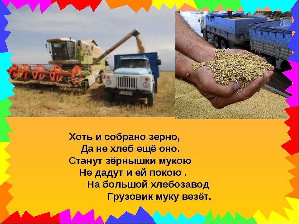 Хоть и собрано зерно, Да не хлеб ещё оно. Станут зёрнышки мукою Не дадут и ей...